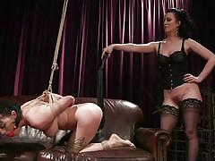 Dominating mistress whipped her lesbian lover's ass