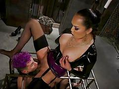 Tranny mistress getting her ass licked