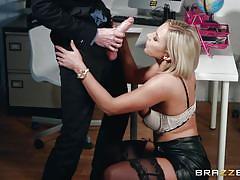 Busty clerk lilli vanilli swallows a massive dick