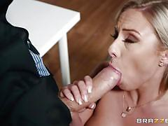 Busty clerk lilli vanilli swallows a massive dick
