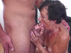 Happy granny suck and fuck young boy