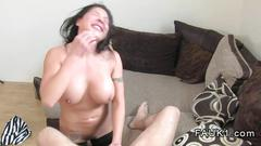 Huge tits brunette fucking on the casting couch