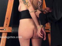 Blonde bondage babe weekays suspension rope and damsel
