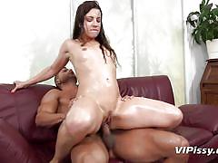 Pissing all over her soft body before banging her