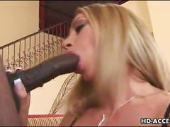 Sensual blonde gets her ass fucked by a black cock