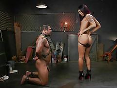 Bound male slave worships khloe's tranny dong