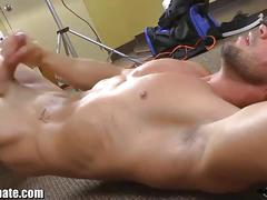 Masked stud jerks off his huge cock