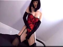 Masturbating in a corset and stockings