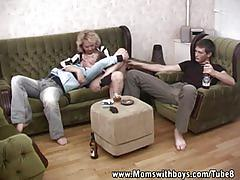 Blond drunk mama in threesome with young boys