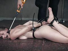 small tits, bondage, babe, torture, round ass, redhead, domination, tied up, cattleprod, infernal restraints, ashley lane
