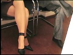 She give a handjob and finishes with a shoejob