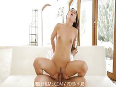 Nubile films - petite tits and puffy nipples climb on lovers cock