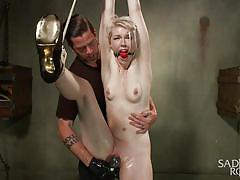 blonde, bdsm, babe, hanging, vibrator, tied up, ropes, studs, ball gag, sadistic rope, kink, ella nova