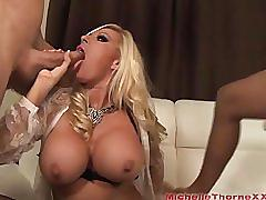 Hot babe michelle thorne is a first time double blowjob cum slut