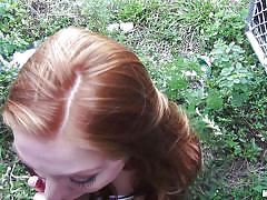 teen, redhead, outdoor, blowjob, picked up, hitchhiker, from behind, pov, alley, stranded teens, mofos network, farrah flower