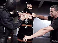 Masked slave must endure nipple torture