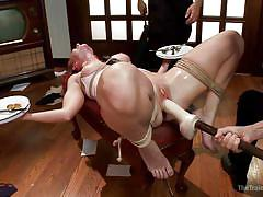 milf, bdsm, redhead, tied up, ropes, electric wand, stick with dildo, balancing, the training of o, kink, sophia locke, owen gray