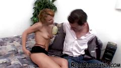 Euro wife becomes slut on bed with bf !!