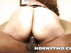 Old mature fat ass bitch horny for young black meat pushing the dick into cunt