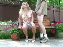 Hot blonde milf banging in pantyhose
