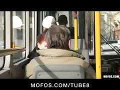 Blonde teen caught on tape fucking on public bus