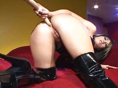 masturbation, anal, big tits, brunette, solo, toys, anal toy, ass fingering, ass toying, assfucking, big boobs, black hair, busty, dildo, latex, masturbating, posing, teasing