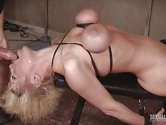 milf, blonde, threesome, bdsm, big tits, deepthroat, mmf, device bondage, tits bondage, sexually broken, matt williams, sergeant miles, dee williams