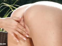 Garden antics featuring morgan and nela lesbian outdoor sex