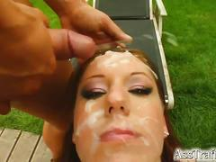 Suzane's face gets covered with sperm after sex