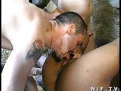 Big boobed french ebony anal fucked and gangbanged with papy