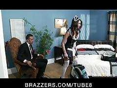 Cheating bigtit horny brunette wife slut fucked in maid's unifor