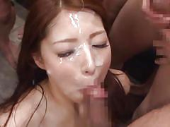 Gang bang bukkake with a pretty japanese girl