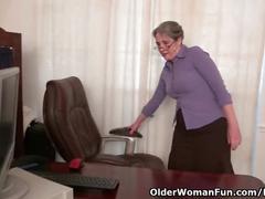 big tits, masturbation, mature, striptease, olderwomanfun, milf, secretary, glasses, amateur, office, granny, grandma, stripping, big-boobs, hairy, masturbate, pussy-rubbing