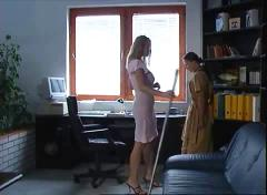 Big breasted blonde cleans her petite maid