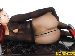 Nylon covered redhead masterbates with toys