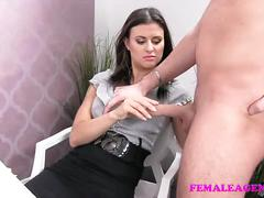 Femaleagent horny stud wants to finish on sexy agents amazing tits
