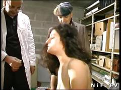 Amateur french girl double teamed in a gangbang with papy voyeur