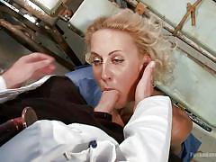 milf, blonde, bdsm, doctor, fingering, gynecologist, mouth fuck, choking, suffocation, dungeon sex, kink, dylan ryan, christian wilde