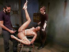 small tits, milf, threesome, bdsm, ebony, interracial, vibrator, moaning, tied up, black hair, ropes, dungeon sex, kink, owen gray, mickey mod, nikki darling