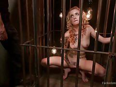 milf, tattoo, blonde, bdsm, masturbation, blowjob, cage, prison cell, dungeon sex, kink, owen gray, jeze belle