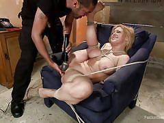 milf, blonde, bdsm, hanging, interracial, busty, vibrator, moaning, tied up, from behind, ropes, pinching nipples, dungeon sex, kink, mickey mod, darling