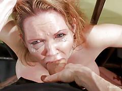 milf, blonde, bondage, bdsm, big tits, crying, vibrator, mouth fuck, pov, hair pulling, tied on bed, dungeon sex, kink, rain degrey, owen gray