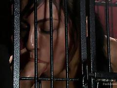 milf, bdsm, blowjob, busty, vibrator, brunette, bondage cage, dungeon sex, kink, christian wilde, beretta james