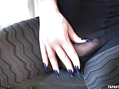 Ts doll has a big dick under her pantyhose