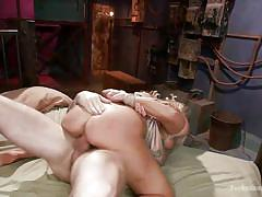 blonde, threesome, bondage, bdsm, busty, double penetration, big booty, cowgirl, from behind, anal sex, dungeon sex, kink, christian wilde, owen gray, angel allwood