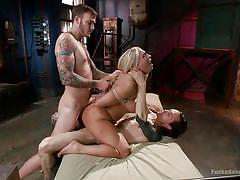 Voluptuous blonde stuffed with two hard ones