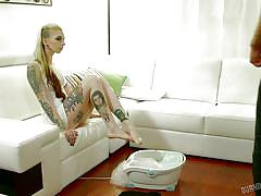 Punk girl offering herself to horny partner
