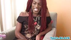 Nubian tgirl fingers her tight asshole