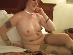 Tatooed red-haired skank gets some bbc!