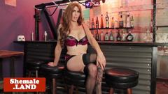 Mature ginger trans toys ass while tugging